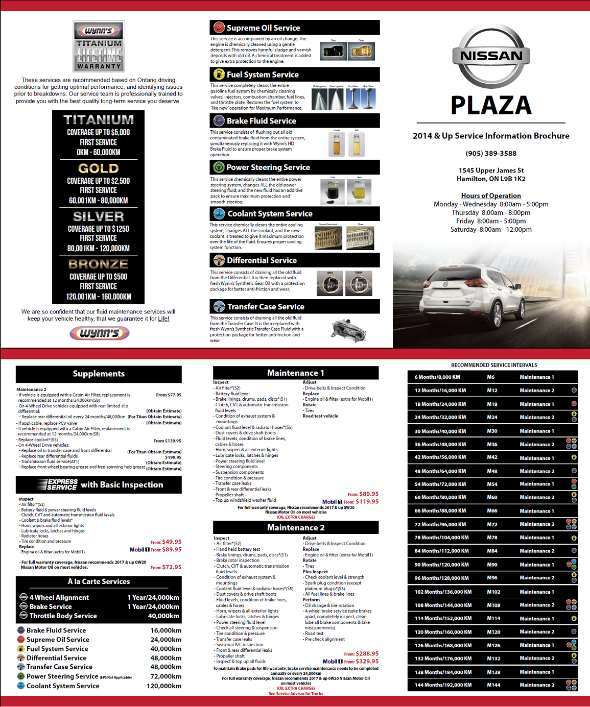2014 & Up Service Schedule and Menu